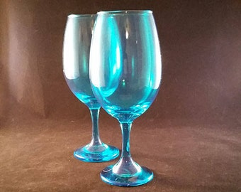 LARGE Aqua Goblets Set of 2