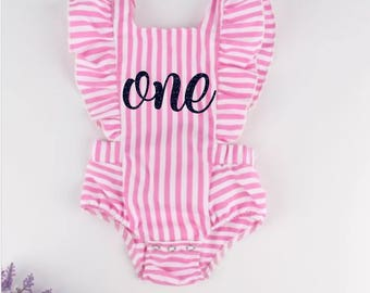 Pink Striped Birthday Romper, Custom Romper, Birthday Outfit
