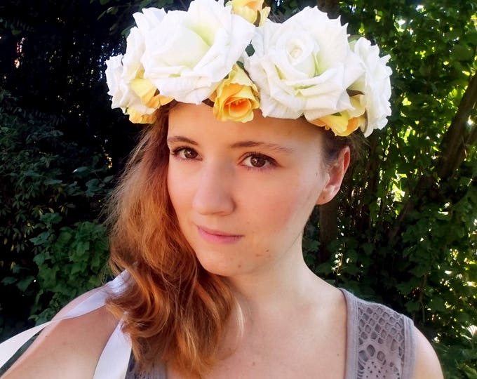 Silk flowers CROWN / WREATH ivory off white yellow rose wedding ribbon Flower girl Bride summer realistic