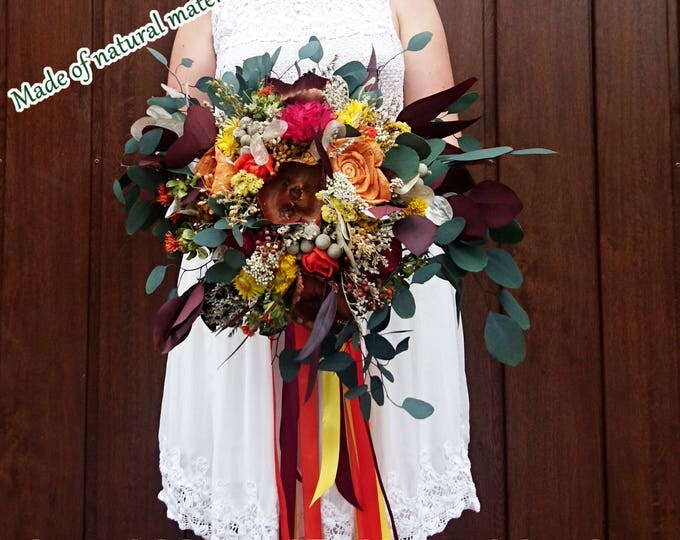 Boho wedding bouquet in fall colors