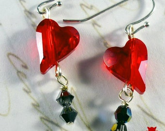 Gifts for Her, Glass Heart Bead Earrings, Red Crystal Heart Earrings, Swarovski Scarlet Red Crystal Earrings, Small Red Heart Earrings
