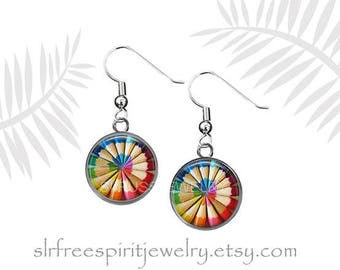 Color Pencil Earrings, Rainbow Colors, Color Pencil Necklace, Earring Set, Photo Image Jewelry, Coloring Book Artist Gift