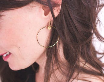 Golden brass hoop earrings