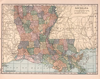 Old Louisiana Map Etsy - Louisana map