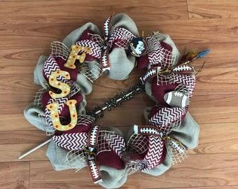 Burlap Florida State University Seminoles FSU Football Wreath