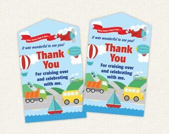 Transportation party favors, transportation favor tags, instant download favor tags, favour tags, transportation birthday, printables