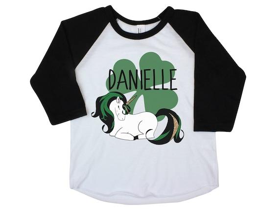Girl St Patrick's Day Shirt Onesie Unicorn Shamrock Raglan Shamrock Unicorn St. Patty's Day Girl Baby Shirt Shamrock Green Personalized