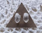 Raw Quartz Crystal Stud Earrings Sterling Silver