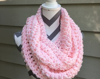 Pink Infinity, Crochet Pink Infinity,Lightweight Cowl, Knit Cowl, Crochet Infinity,Crochet Cowl,Pink Infinity,Pink Scarf,Ready to Ship