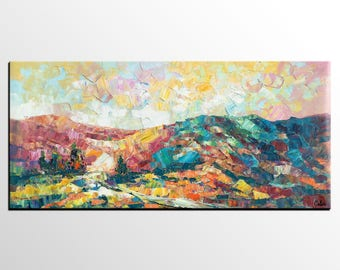 Large Painting, Canvas Art, Abstract Mountain Landscape Painting, Original Artwork, Canvas Oil Painting, Abstract Art, Large Wall Art