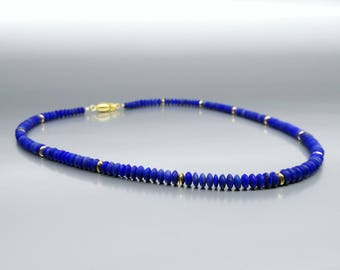 Elegant necklace of Lapis Lazuli and 14K gold plated accents and clasp - gift idea - AAA Grade afghan Lapis - special cut design