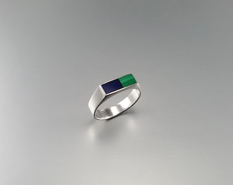 Ring with Malachite, Lapis Lazuli and Sterling silver, blue and green inlay work - gift idea - combination multi color - AAA Grade stone