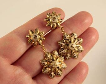 Gold Star Earrings Flower Earrings Black Gold Earrings Star Bridal Earrings Dangle Stars Art Deco Clip On Drop Earrings Damascene Earrings