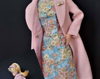 Pink Bouquet - Coat and fitted sheath with Hat Fashion