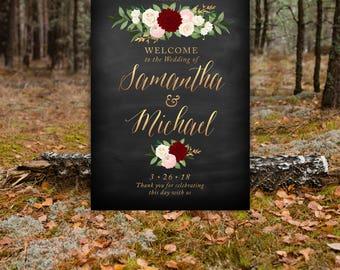 Black & Copper Calligraphy Song of Solomon Welcome Wedding Sign . Eucalyptus Garland Burgundy Dahlia Blush Ranunculus Ivory Rose Large PRINT