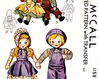 Vintage 1940s Sunbonnet Sue and Sam Cloth Doll Pattern and Doll Clothes Pattern Vintage Cloth Doll Pattern - Sewing Pattern Digital Download