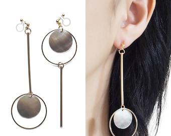 Brown Shell Dangle Clip On Earrings Long Gold Invisible Clip on Hoop Earrings Asymmetric Threader Bar Clip Earrings Non Pierced Earrings
