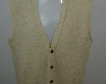Robert Bruce Mens Ivory Cardigan Sweater Vest Made in USA VTG Size Large