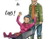 """Cartes postales humoristiques """"Les Retraités Modernes"""""""