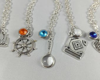 The Adventure Zone Inspired Mini Jewel & Charm Necklaces - Barry, Lup, Lucretia, Davenport, and Angus