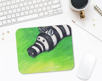 Zebra Mousepad, Illustration Art, Animal Lover Gift, Kids Mousepad, Mousemats, Cute Mouse Pads, Printed Mouse Pad