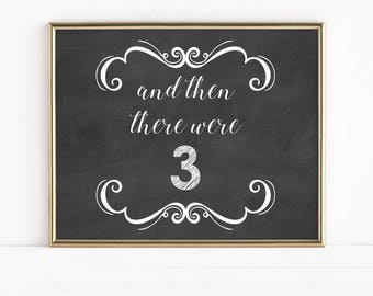 And Then There Were 3, First Baby, Pregnancy Announcement Chalkboard Sign, Photo Prop, We're Pregnant, We're Expecting, Instant, MB114