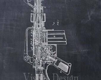 Semi-Automatic Rifle Patent Print Rifle Art Print - Gun - Firearm - Weapon