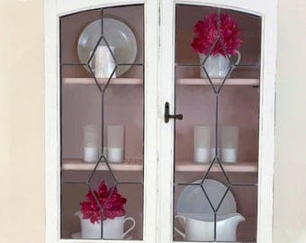 Vintage Glass Cabinet, White and Pink Cabinet, Painted Cabinet, Glass Fronted Cabinet, Vintage Cupboard, White Cupboard, Wall Cupboard