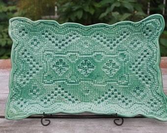 Jade Green Rectangle Doily Platter, Doily Platter, Handmade Doily Platter