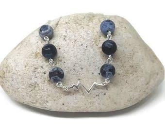 Sterling silver heartbeat necklace, blue fire agate necklace, silver heartbeat necklace, blue gemstone necklace, heartbeat necklace, navy