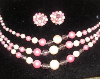 Old SHADES of PINK Facet Beads ~ 3 Strand Choker Necklace with Clip Earrings Demi Parure SET~ Japan