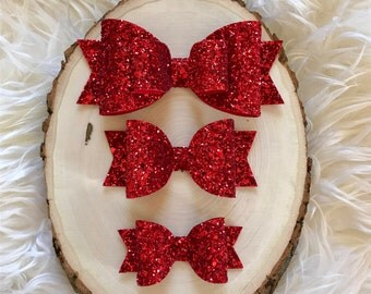 Ruby Red Glitter Sparkle Hair Bow, Large Red Glitter Bow, Red Glitter Bow, Red Bow Headband, Christmas Hair Bow