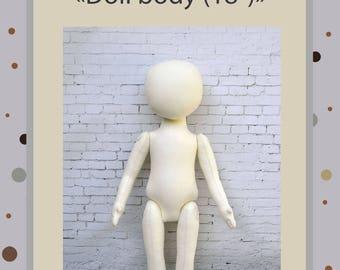 "PDF Cloth Doll Pattern 18 "" American girl Soft Doll Pattern"