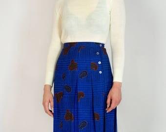 Vintage 80s High Waisted Box Pleated Paisley Houndstooth Plaid Royal Blue Midi Skirt