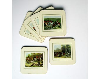 Coasters by Clover Leaf Deluxe The Hunt illustrations gilded edge cork backed set of 6 vintage English country house traditional drinkware