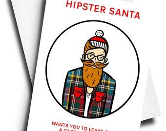 hipster santa tarjeta de navidad divertida tarjeta de navidad divertida tarjeta divertida