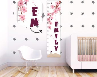 Gift for baby Baby girl Growth Chart Ruler Pink Kids Growth Chart Girls Growth Chart First Birthday Gift Personalized Growth Chart