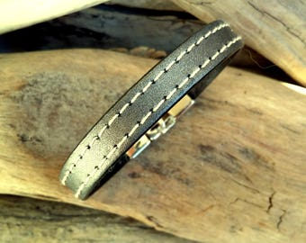 Leather bracelet for Man, gray anthracite metallized, Boho jewelry, By Dodie