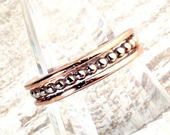 Unique Vintage 14K Rose Gold & White Gold Triple Stack 3 Row Wedding Band, Anniversary Band, US Size 6, 2.8 Grams
