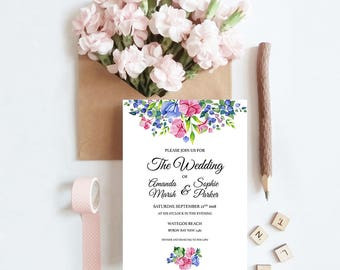 Pretty Petals Wedding Invitation