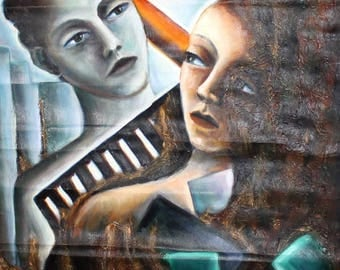 European art 1980's oil painting abstract figures surrealist portrait