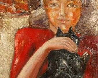 1960's European art oil painting child and cat portrait signed