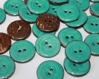 Natural coconut shell button, enamel painted, blue coconut buttons, 25 mm round coconut shell buttons, dyed shells, jewelry flatback sewing