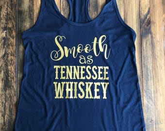 Smooth as Tennesee Whiskey Tank, Women's Country Lifestyle Apparel Music Festival Tank T-Shirt Southern Clothing, Country Music Shirt