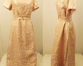 50's Vintage Handmade Pink Short Sleeve Evening Dress Size 14