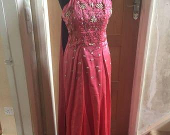 Vintage: Deep pink 1950s long evening dress.