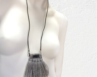 Light Grey Woven Necklace with Tassels, Fiber Necklace, Fiber Handwoven Necklace, Graphic Woven Fiber Jewelry, Mini Tapestry, Boho Jewelry