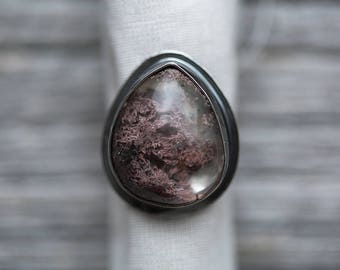 RESERVED until 6/26 - lodolite gemstone ring (size 7). antique sterling silver. nautical oxidized jewelry. garden quartz. (tidal pool ring)