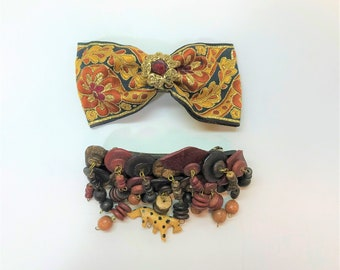Vintage Hair Barrettes, Two Boho Hair Barrettes, Brown Wood Bead Dangles Hair Barrette, Black Gold Tapestry Hair Bow, Large Hair Clips,Clips
