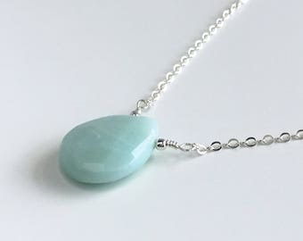 Large Amazonite Necklace - Green Necklace for Women - Green Jewelry for Girlfriend - Seafoam Green Jewelry - Amazonite Necklace for Women